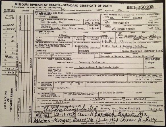 Albert Cowan Death Certificate