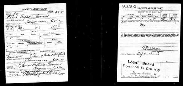 US World War I Draft Registration Cards AlbertGibsonCOWAN