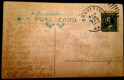 GRAY Alex BROWNING Rose Postcard Back 1912