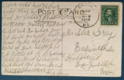 GRAY Alex SHOWALTER A 1916 Back