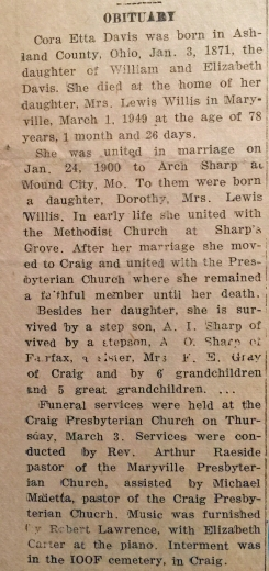 DAVIS Cora Etta Obituary