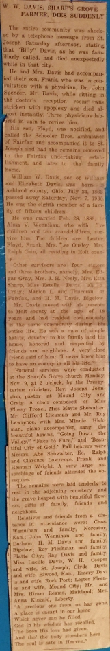 DAVIS William W Obituary