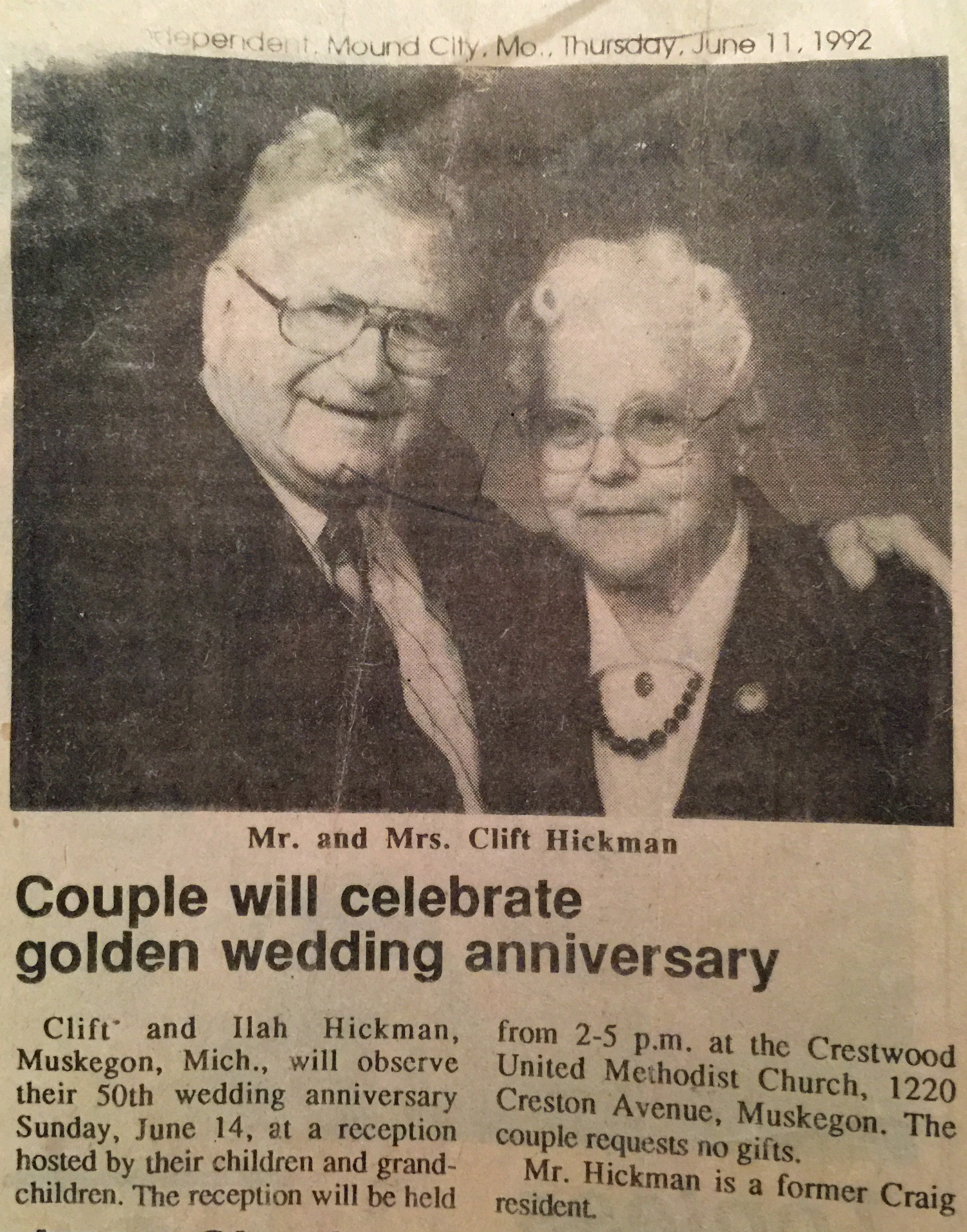 HICKMAN Clift and Ilah anniversary
