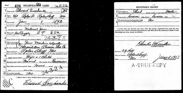 SUSCHANK Edward WWI Draft Card