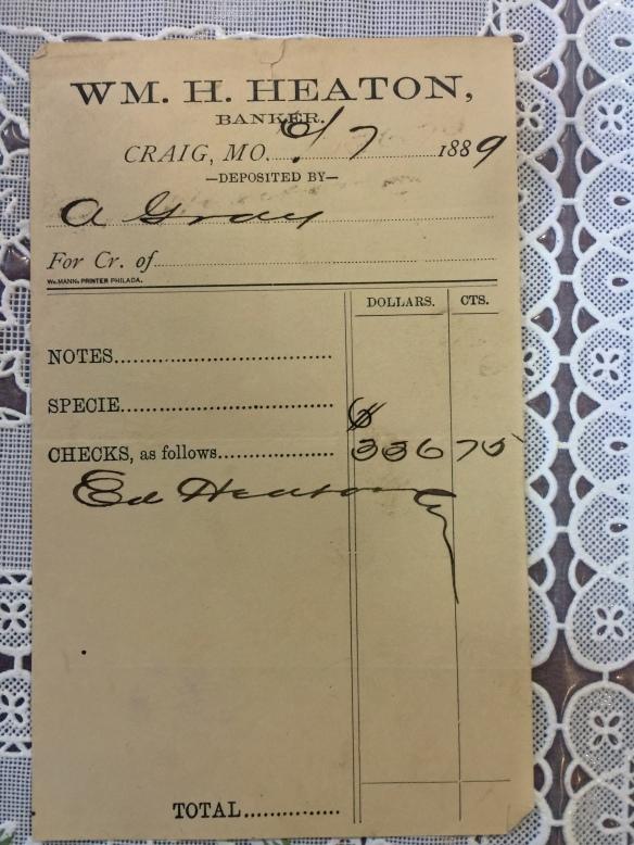 GRAY Alexander 1889 bank deposit