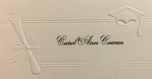 COWAN Carol Ann grad name card